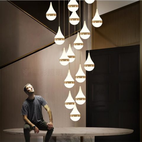 Dutti D0011 Led Pendant Light Long Staircase Lamp Post Modern Rotary Crystal Chandelier Duplex Villa