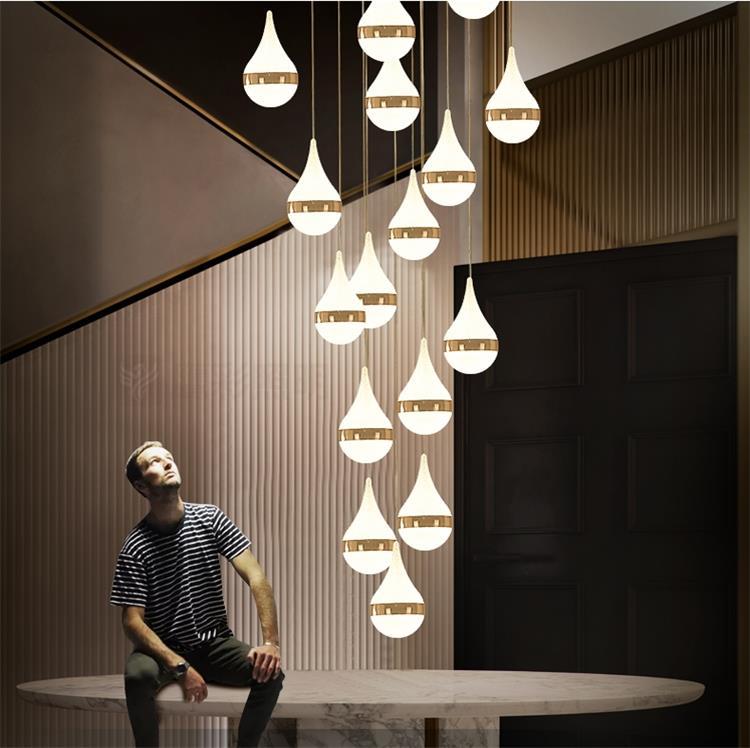 Dutti Led Pendant Light Long Staircase Lamp Post Modern Rotary Crystal Chandelier Duplex Villa