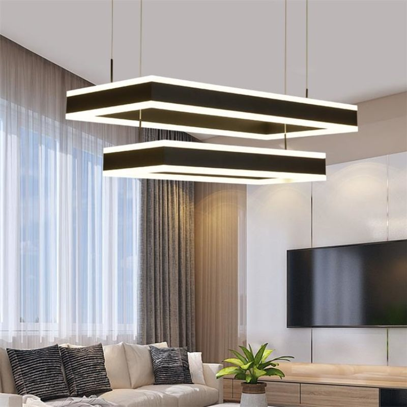 Dutti Led Chandelier Restaurant Creative Postmodern Atmospheric Living Room Chandelier Minimalist Bedroom Lamp Hall Rectangular Lamps Double Medium 80 60cm Dutti Led Chandelier Lighting Fixtures Modern Pendant Chandeliers Light Contemporary