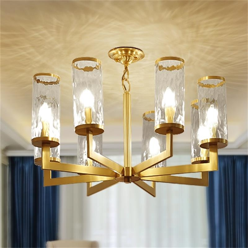 Dutti D0054 LED Copper Chandelier Light For Living Room Dining Hall Bedroom American Luxury Lamp